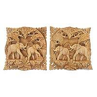 Wood relief panels, 'Elephant Palace' (pair)