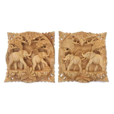 Wood relief panels, 'Elephant Palace' (pair) - Elephant-Themed Wood Relief Panels from Indonesia (Pair)