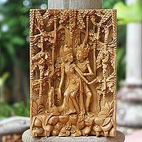 Wood relief panel, 'Ramayana Love' - Cempaka Wood Ramayana Relief Panel from Indonesia