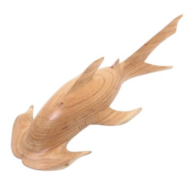Wood sculpture, 'Ocean Hunter' - Jempinis Wood Hammerhead Shark Sculpture from Bali