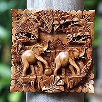 Wood relief panel, 'Elephant Brotherhood' - Cempaka Wood Elephant Relief Panel from Indonesia