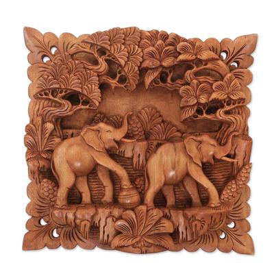 Wood relief panel, 'Elephant Brotherhood' - Cempaka Wood Elephant Relief Panel from Indonesia