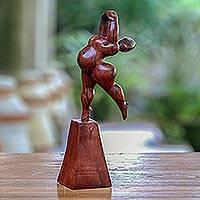 Wood sculpture, 'Ballet Swan' - Hand-Carved Suar Wood Female Form Ballet Sculpture from Bali