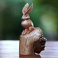 Wood sculpture, 'Watchful Hare' - Hand-Carved Wood Hare Sculpture from Bali