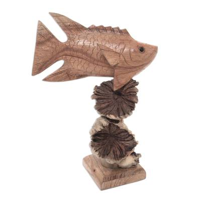 Hand-Carved Wood Dragonfish Sculpture from Bali