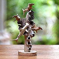 Wood sculpture, 'Hammerhead Feast'