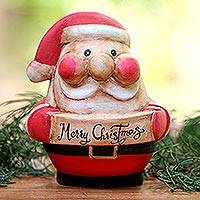 Wood figurine, 'Happy Santa' - Hand-Carved Wood Santa Figurine from Bali