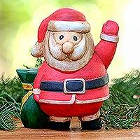 Wood figurine, 'Waving Santa' - Hand-Carved Wood Waving Santa Figurine from Bali