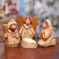 Wood nativity scene, 'The Birth of Jesus' (set of 4) - Hand-Carved Albesia Wood Nativity Scene from Bali (Set of 4)