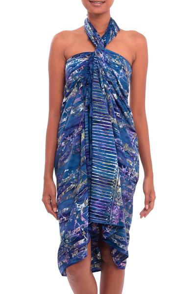 Batik rayon sarong, 'Dawning Mystery in Purple' - Leaf Motif Batik Rayon Sarong in Purple from Bali