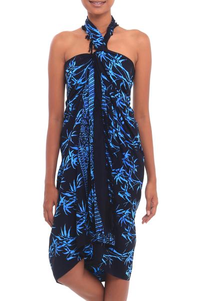 Batik rayon sarong, 'Leafy Memories' - Batik Rayon Sarong in Black and Blue from Bali