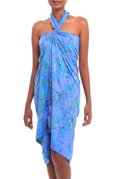 Batik rayon sarong, 'Pale Blue Petals' - Floral Batik Rayon Sarong in Pale Blue from Bali