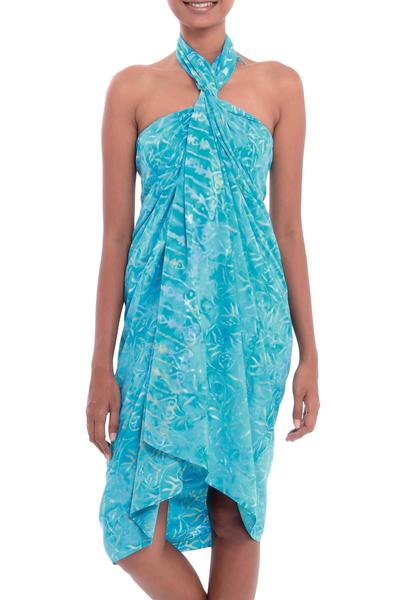 Batik rayon sarong, 'Cerulean Eden' - Leaf Motif Batik Rayon Sarong in Blue from Bali