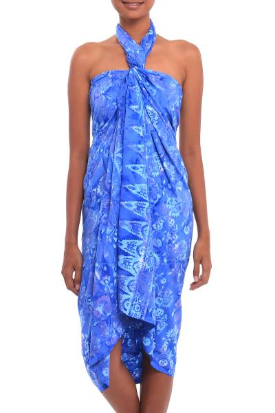 Batik rayon sarong, 'Pastel Blue Flowers' - Floral Motif Batik Rayon Sarong in Blue from Bali