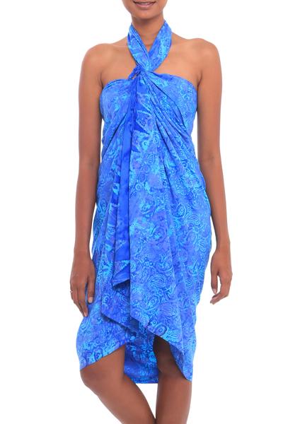 Batik rayon sarong, 'Oceanic Paisleys' - Paisley Motif Batik Rayon Sarong in Blue from Bali