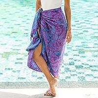 Batik rayon sarong, 'Mystifying Forest' - Floral Batik Rayon Sarong in Wisteria from Bali
