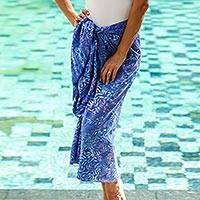 Batik rayon sarong, 'Heavenly Palm' - Leaf Motif Batik Rayon Sarong in Sky Blue from Bali