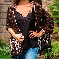 Batik rayon scarf, 'Nighttime Petals in Brown' - Handmade Batik Rayon Scarf in Brown from Java