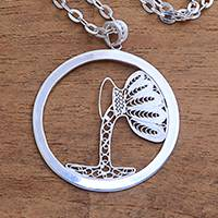 Sterling silver filigree pendant necklace, 'Elegant Aquarius' - Sterling Silver Filigree Aquarius Necklace from Java
