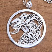 Sterling silver filigree pendant necklace, 'Elegant Aries' - Sterling Silver Filigree Aries Necklace from Java