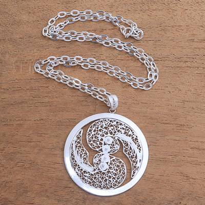 Sterling silver filigree pendant necklace, 'Elegant Gemini' - Sterling Silver Filigree Gemini Necklace from Java