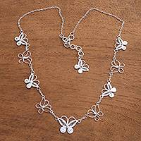 Sterling silver filigree link necklace, 'Loving Butterfly' - Sterling Silver Filigree Butterfly Necklace from Java