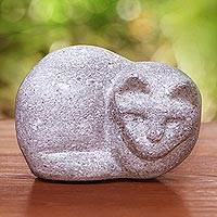 Sandstone figurine, 'Shy Cat' - Handmade Sandstone Cat Figurine from Java