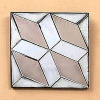 Glass decorative mirror, 'Diamond Dazzle' - Diamond Motif Glass Decorative Mirror from Java
