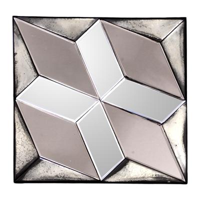 Diamond Motif Glass Decorative Mirror from Java