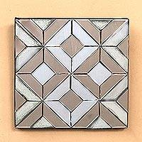 Glass decorative mirror, 'Temple Mystery' - Geometric Glass Decorative Mirror from Java