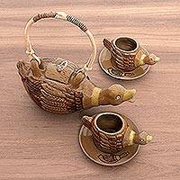 Ceramic tea set, 'Sambisari Ducklings' (set for 2) - Brown Handcrafted Ceramic Duckling Tea Seat with Saucers