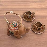 Ceramic tea set, 'Sambisari Elephant' (set for 2) - Handcrafted Elephant Theme Ceramic Tea Set for Two
