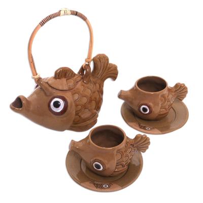 Handmade Brown Ceramic Fish Tea Set for Two