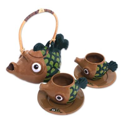 Handcrafted Javanese Fish Theme Ceramic Tea Set for Two