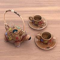 Ceramic tea set, 'Timang Tortoise' (set for 2) - Ceramic Floral Beach Tortoise Teapot and Teacup Set for Two