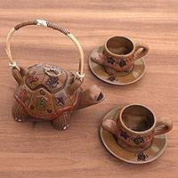 Ceramic tea set, 'Parangtritis Tortoise' (set for 2) - Ceramic Turtle Theme Ceramic Teapot and Cup Set for Two