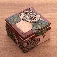 Ceramic spice box, 'Brown Autumn Song' - Brown and Green Autumn Leaves Ceramic Spice Box