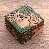 Ceramic spice box, 'Green Autumn Song' - Green and Brown Autumn Leaves Ceramic Decorative Box