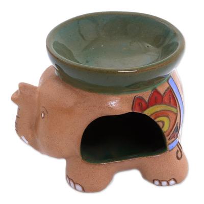 Handcrafted Javanese Ceramic Floral Elephant Oil Warmer