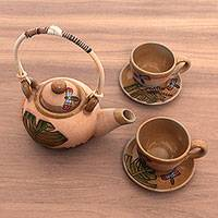 Ceramic tea set, 'Spring Dragonflies' (set for 2) - Handcrafted Javanese Dragonfly Tea Set with Cups and Saucers