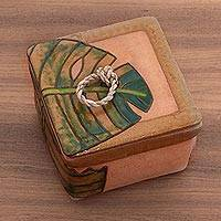 Ceramic spice box, 'Happy Bee' - Handmade Bumble Bee and Leaf Ceramic Spice Box