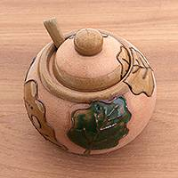 Ceramic sugar bowl, 'Autumn Flavor' - Handcrafted Autumn Leaf Ceramic Sugar Bowl and Spoon