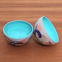 Ceramic bowls, 'Blue Eden' (pair) - Hand-Painted Ceramic Bowls in Blue from Java (Pair)