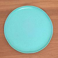 Ceramic serving plate, 'Blue Eden' - Signed Ceramic Serving Plate in Blue from Java