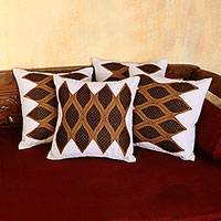 Cotton cushion covers, 'Rippling Waves' (set of 4) - Linen White and Brown Cotton Cushion Covers (Set of 4)