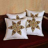 Cotton cushion covers, 'Batik Petals' (set of 4) - White and Brown Floral Cotton Cushion Covers (Set of 4)