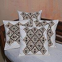 Cotton applique cushion covers, 'Betel Beauty' (set of 4) - Handwoven Cotton Cushion Covers from Bali (Set of 4)