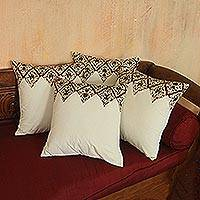 Cotton cushion covers, 'Batik Pennants' (set of 4) - White with Brown Vine Motif Cotton Cushion Covers (Set of 4)