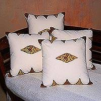 Cotton cushion covers, 'Daun Sirih' (set of 4) - 100% Cotton Cushion Covers with Leaf Motifs (set of 4)
