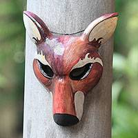 Wood mask, 'The Red Wolf' - Hand-Carved Wood Wolf Mask in Red from Bali